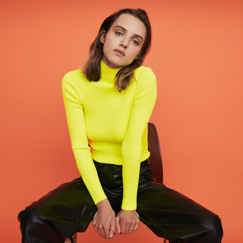 Light ribbed turtleneck sweater : Winter collection color Florescent Yellow