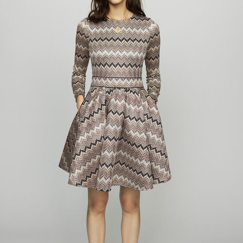 Skater dress in novelty knit : Dresses color Ecru