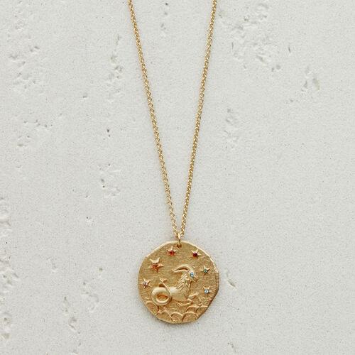 Capricorn zodiac sign necklace : Jewelry color GOLD