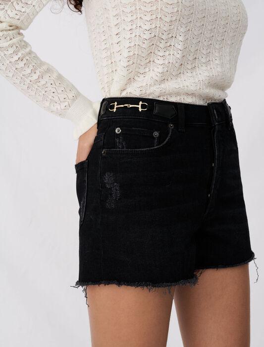 Denim shorts with horsebit details : Eco-friendly color Black