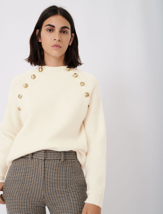 High neck ribbed sweater with buttons - Pullovers & Cardigans - MAJE