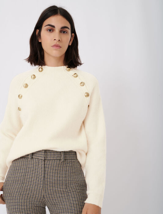High neck ribbed sweater with buttons : Pullovers & Cardigans color Ecru