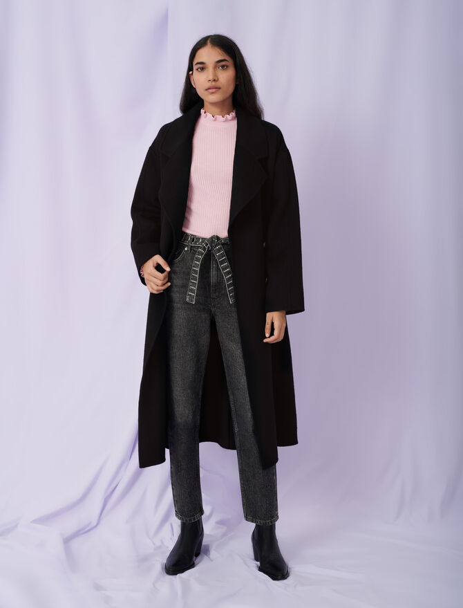 Belted double face coat - Eco-friendly - MAJE