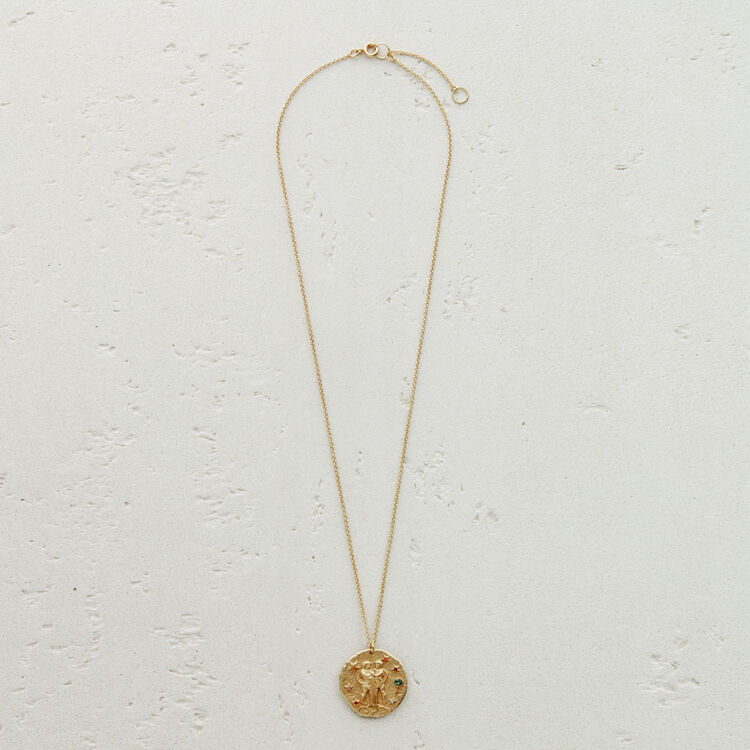 Gemini zodiac sign necklace : Jewelry color GOLD