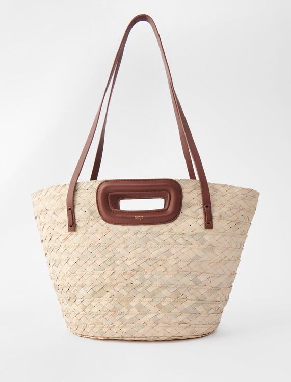 Basket bag in palm and leather - All bags - MAJE