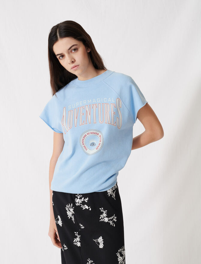 Sky blue screen-printed sweatshirt - T-Shirts - MAJE