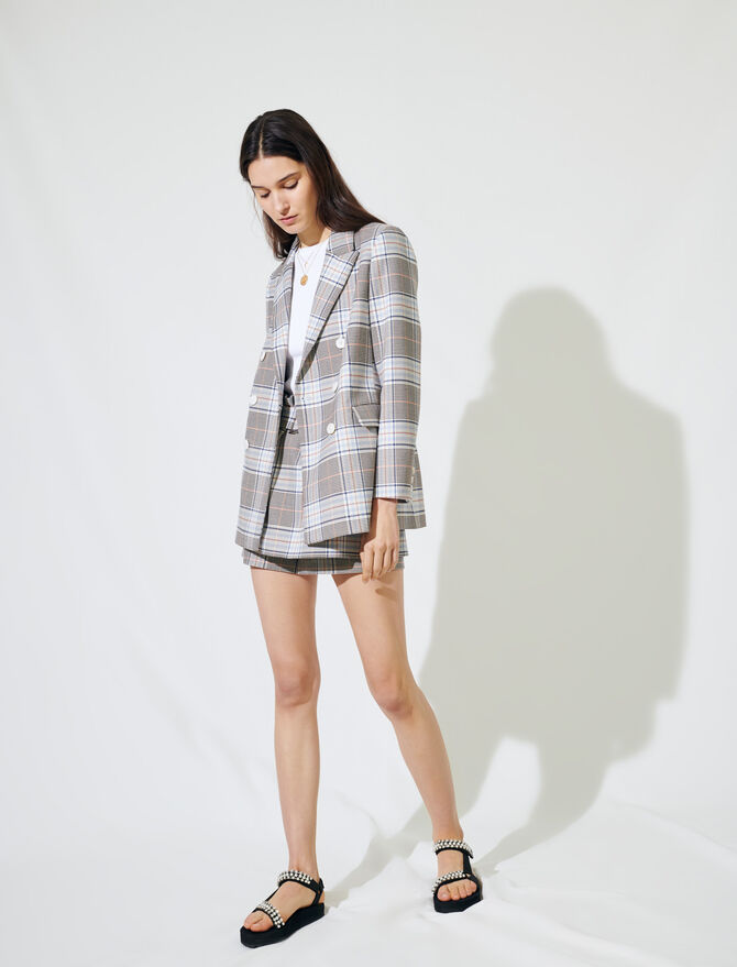 Checked double-breasted blazer - Blazers - MAJE