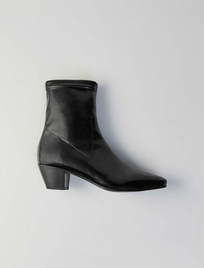 Heeled stretch vinyl booties -  - MAJE