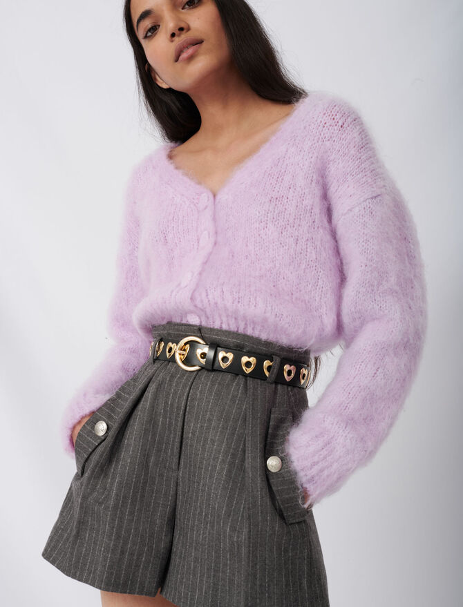 Mohair cardigan with fancy buttons -  - MAJE