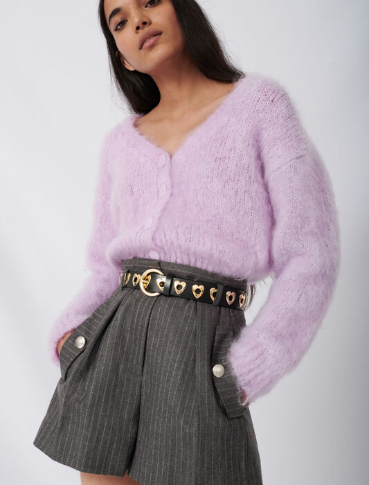 Mohair cardigan with covered buttons : Pullovers & Cardigans color Parma Violet
