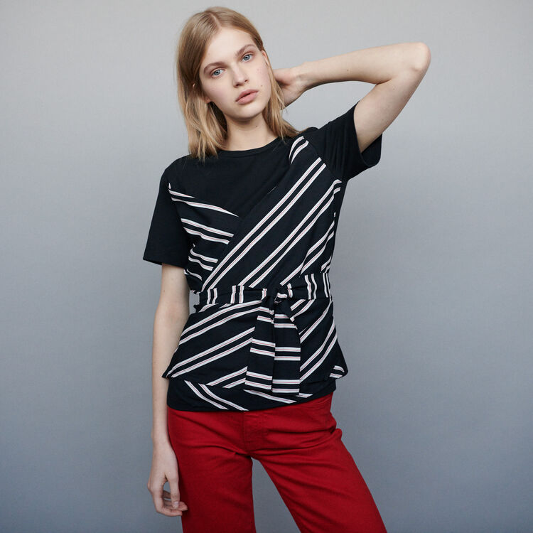 Top with double-material inset : T-Shirts color Black 210