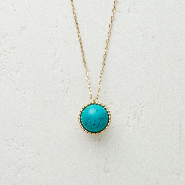 Necklace with natural stone : Jewelry color AZURE BLUE