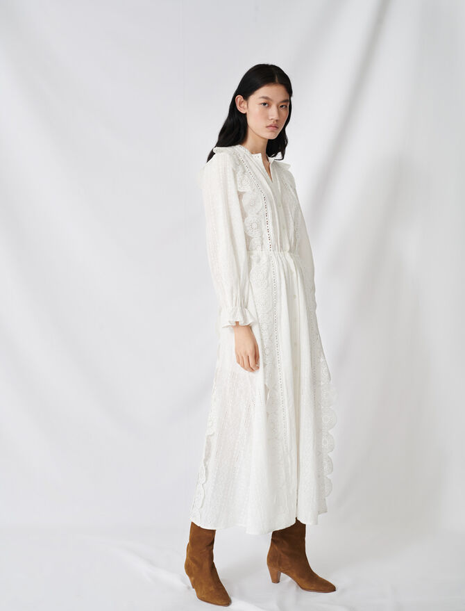 Cotton dress with broderie anglaise - Dresses - MAJE