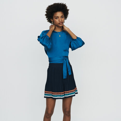 Pleated shorts with stripes : Skirts & Shorts color Navy