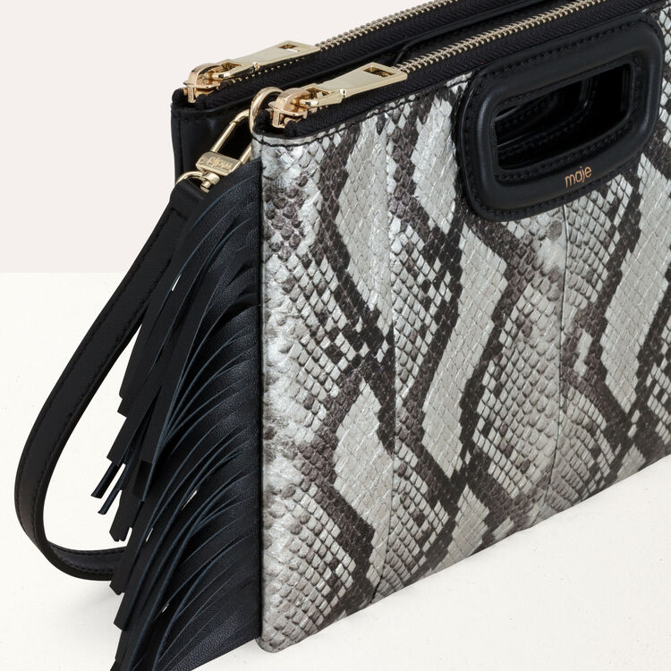 M Duo clutch in python leather : M Duo color Black