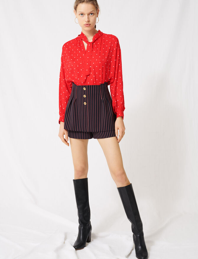 Trompe-l'œil-effect striped shorts - Skirts & Shorts - MAJE