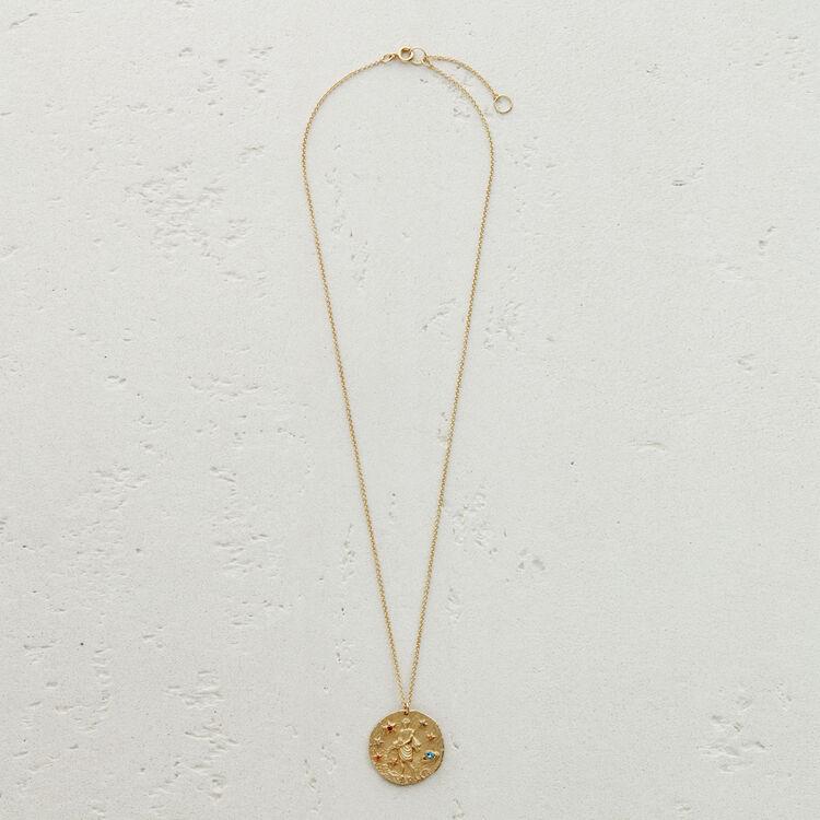 Aquarius zodiac sign necklace : Jewelry color GOLD
