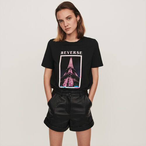 Silk screen printed t-shirt : Winter collection color Black