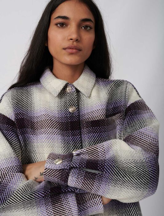 Checked overshirt-style jacket : Eco-friendly color Parma Violet