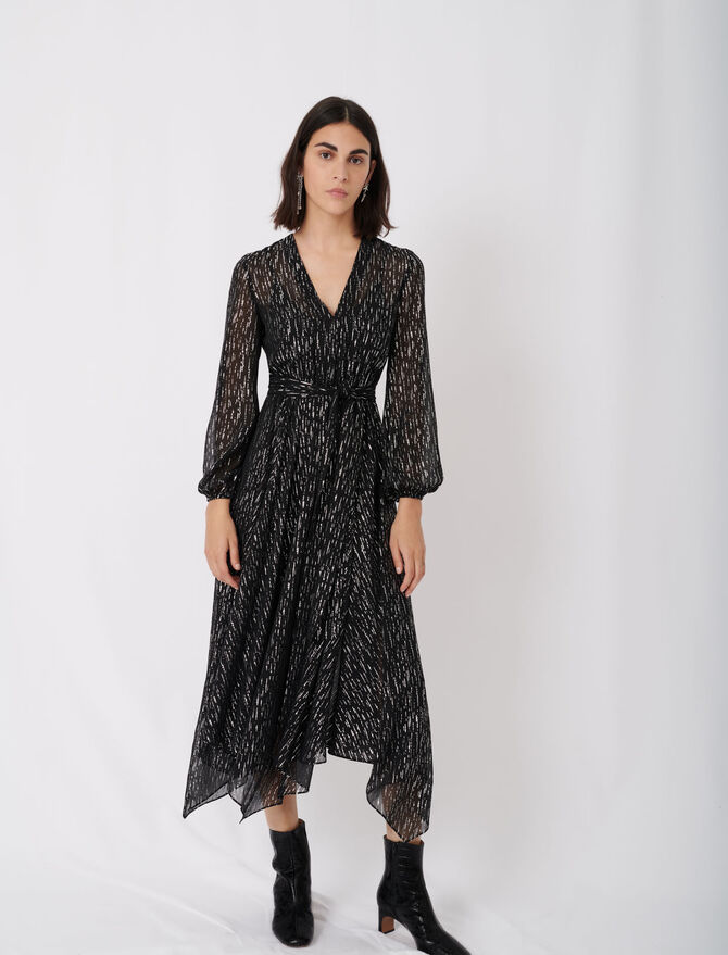 Belted muslin dress with scarf print - See all - MAJE