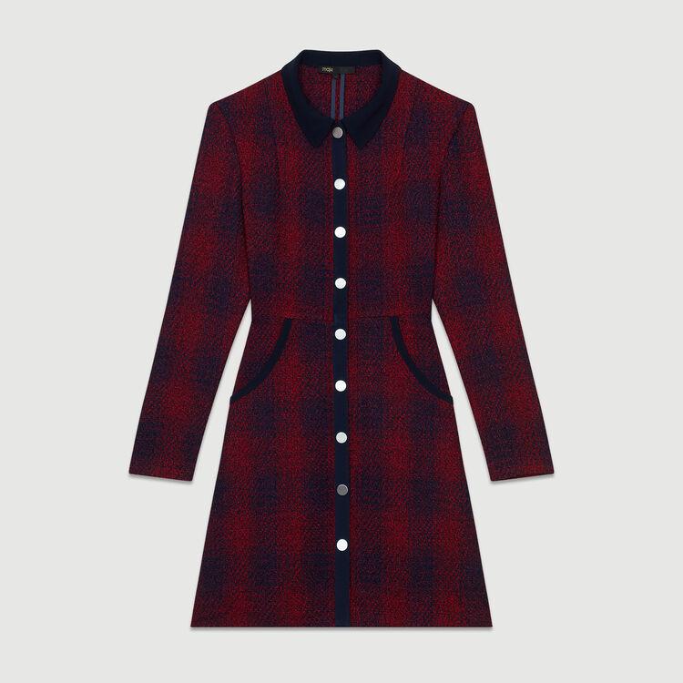 Tweed shirt dress : Dresses color CARREAUX