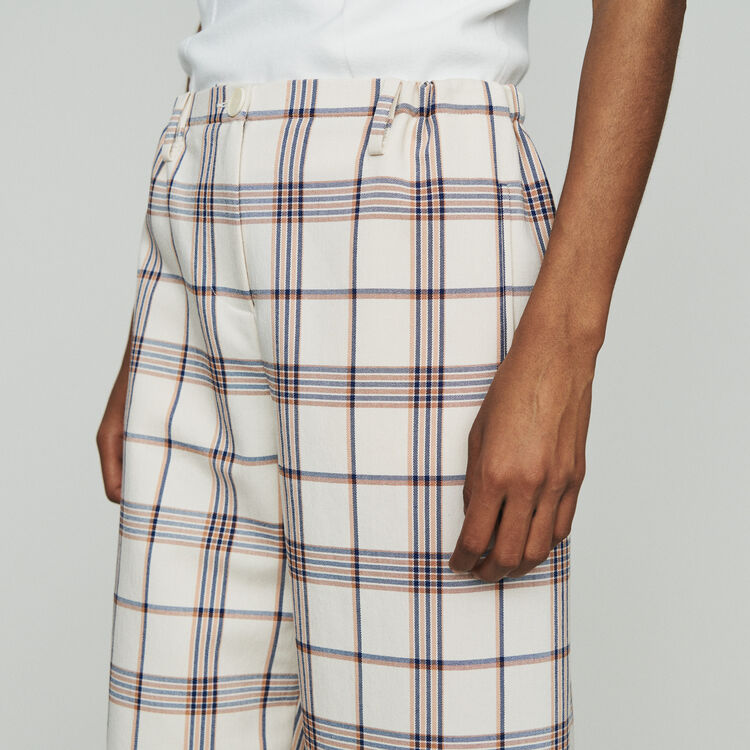 Wide leg plaid pants  : Trousers & Jeans color CARREAUX