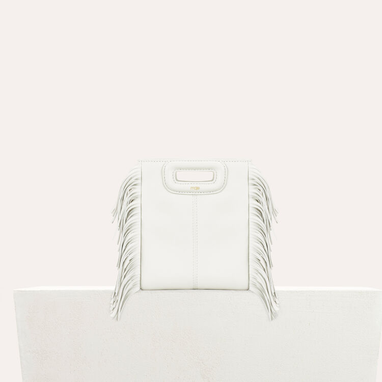 Fringed leather M minibag : staff private sale color White