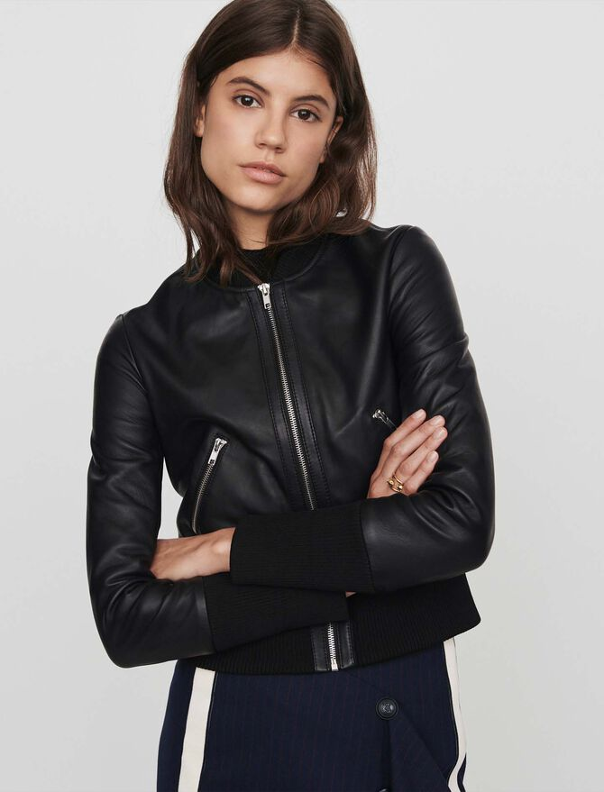 Leather jacket with rib-knit trim - Best Sellers - MAJE