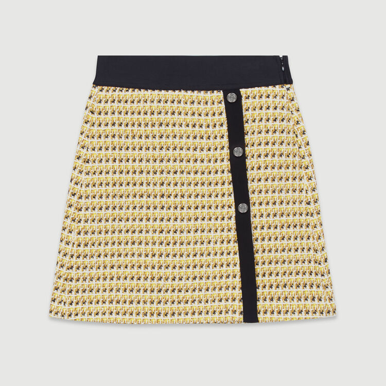 Short skirt in tweed and lurex : Skirts & Shorts color Yellow