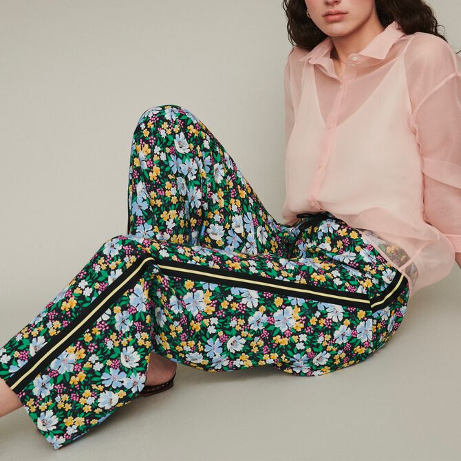 Sweatpants with floral print - Trousers & Jeans - MAJE