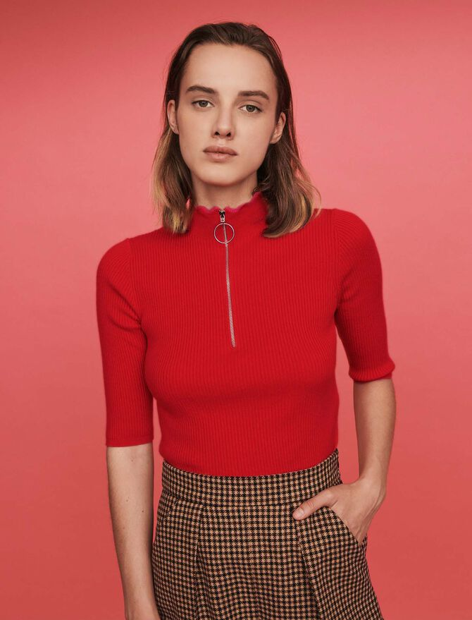 Fancy and zipped turtleneck sweater - Pullovers & Cardigans - MAJE