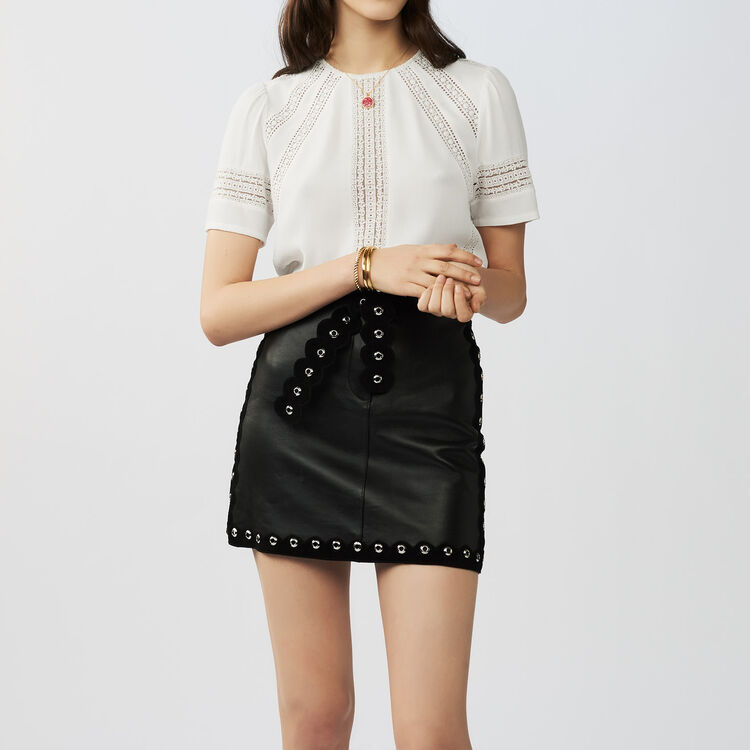 Embroidered ajour stitching top : staff private sale color Ecru