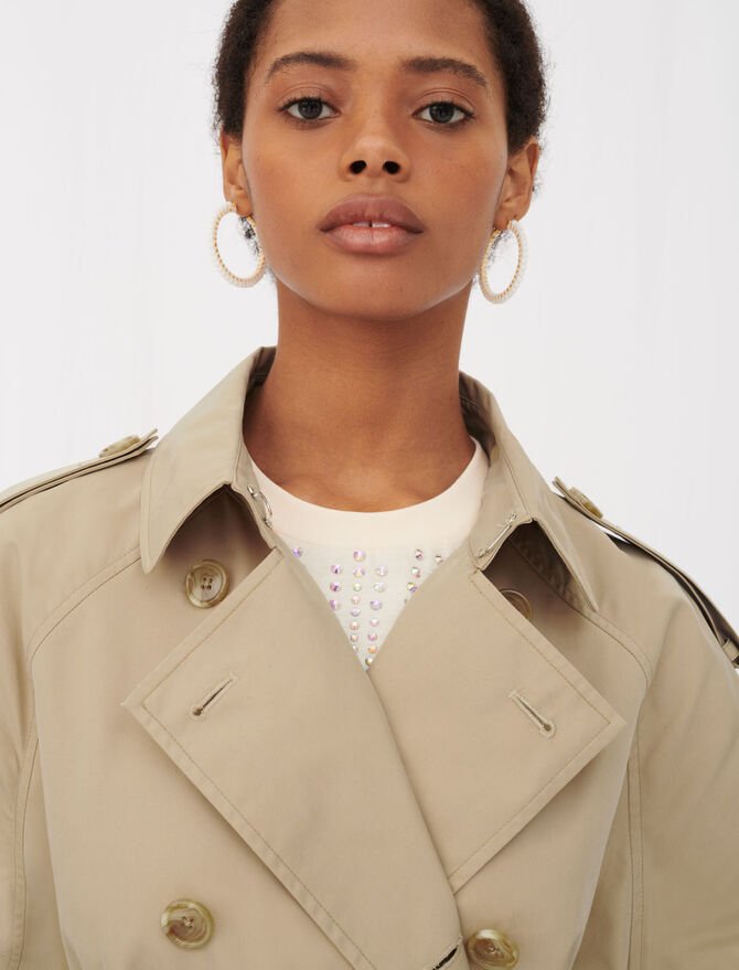 Belted trench coat with leather patches - Blazers - MAJE