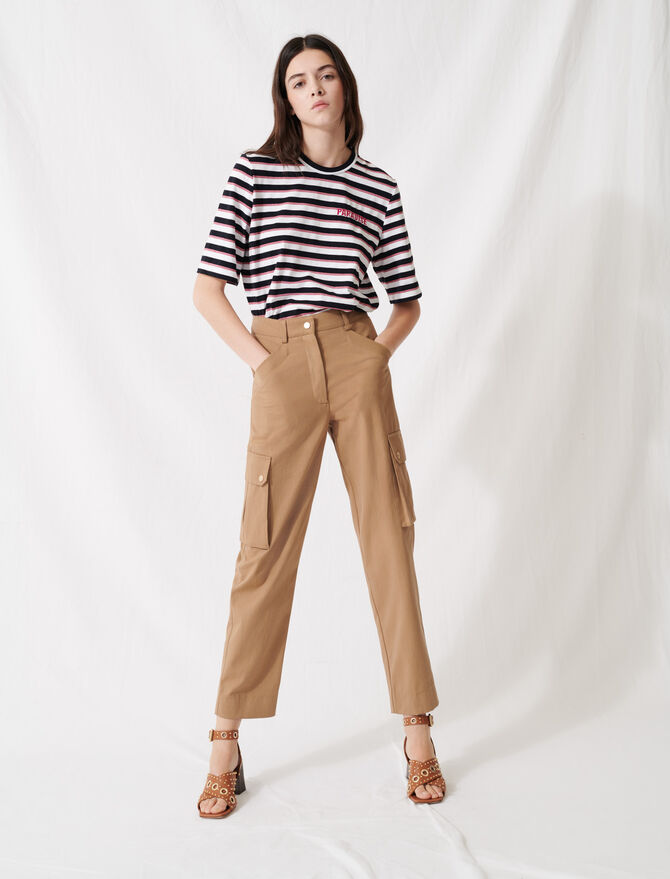 Camel cotton trousers -  - MAJE
