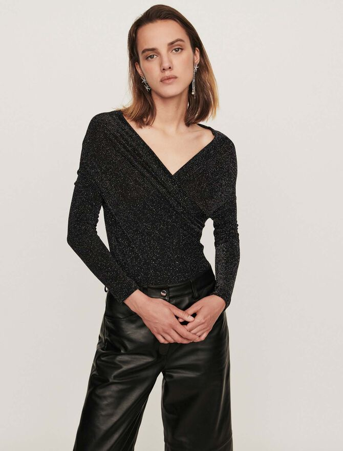 Lurex jersey long-sleeved bodysuit -  - MAJE