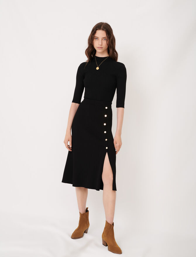 Knitted midi skirt with slit and buttons -  - MAJE