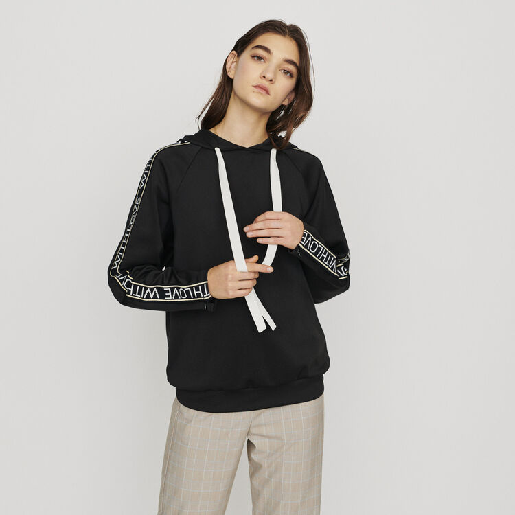 Hooded sweat-shirt withslogan band : Pullovers & Cardigans color Black 210