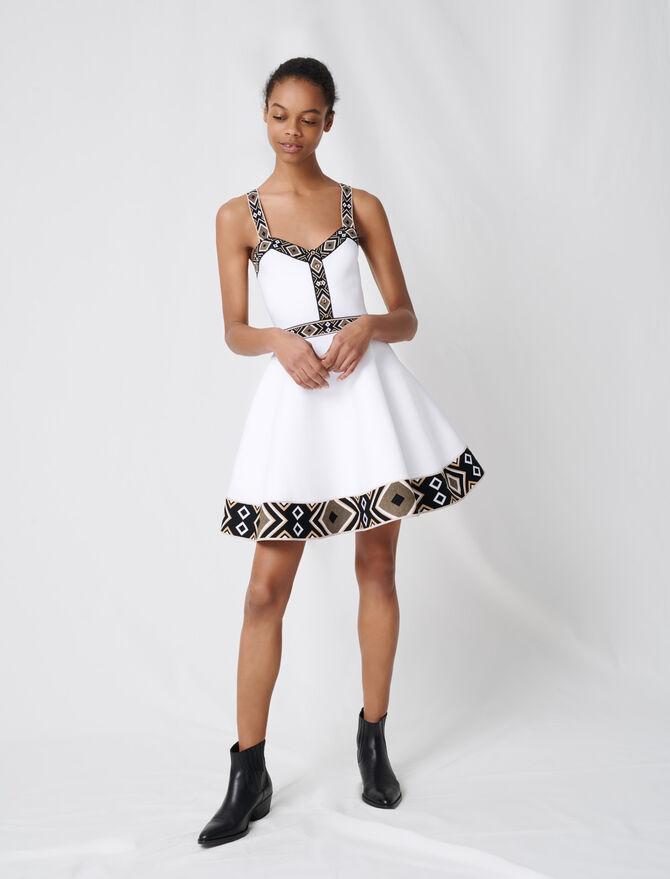 White knit skater dress - Dresses - MAJE