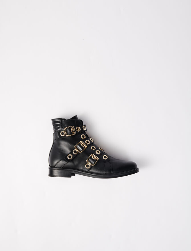 Multi-strap flat boots with eyelets - Booties & Boots - MAJE