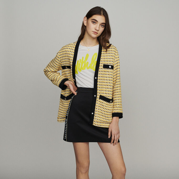 Jacket in tweed and lurex : New in : Summer Collection color Yellow