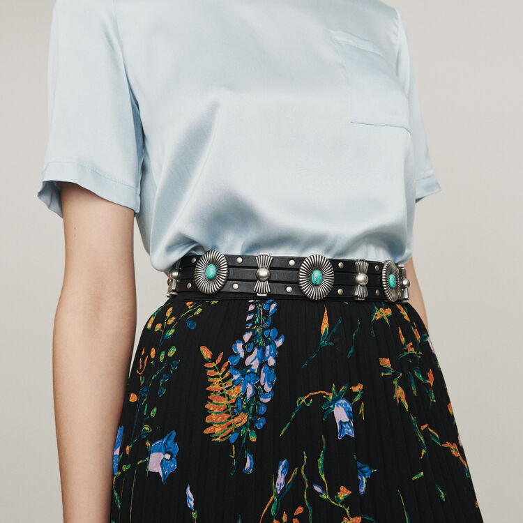 Printed pleated dress : Skirts & Shorts color Black