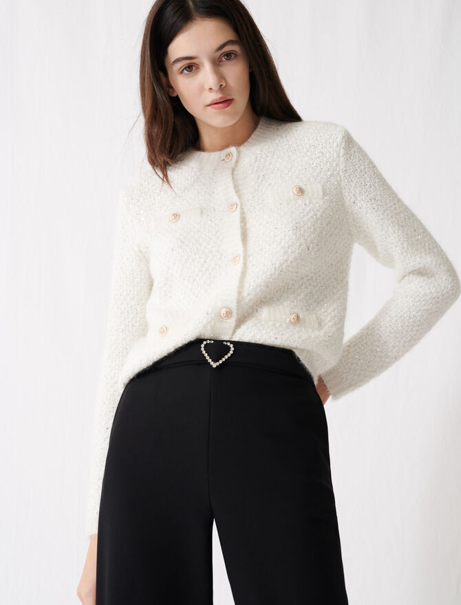 Sparkling long-sleeved cardigan - Pullovers & Cardigans - MAJE