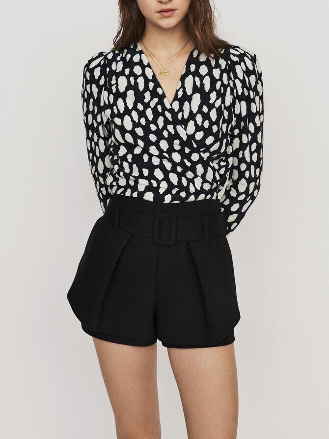 Pleated trompe-l'oeil short - Skirts & Shorts - MAJE