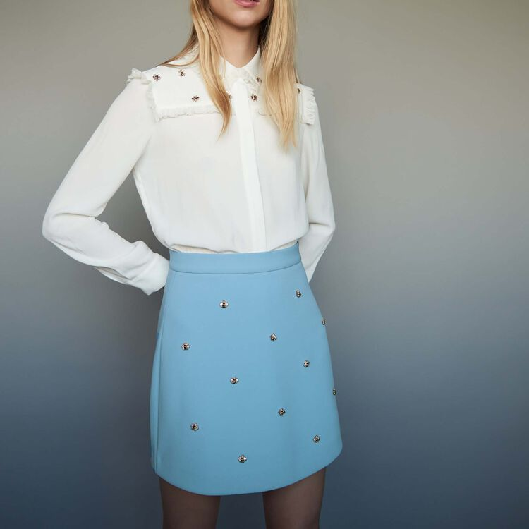 Skirt with bee embroidery : staff private sale color Blue Sky