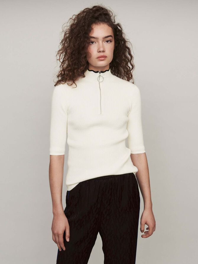 Fancy and zipped turtleneck sweater -  - MAJE