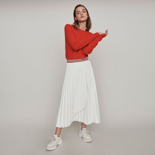 Pleated skirt with contrasting stripes : Skirts & Shorts color Ecru