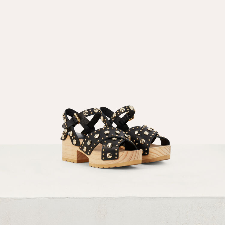 Wood heel sandals with studs : Flat shoes color Black