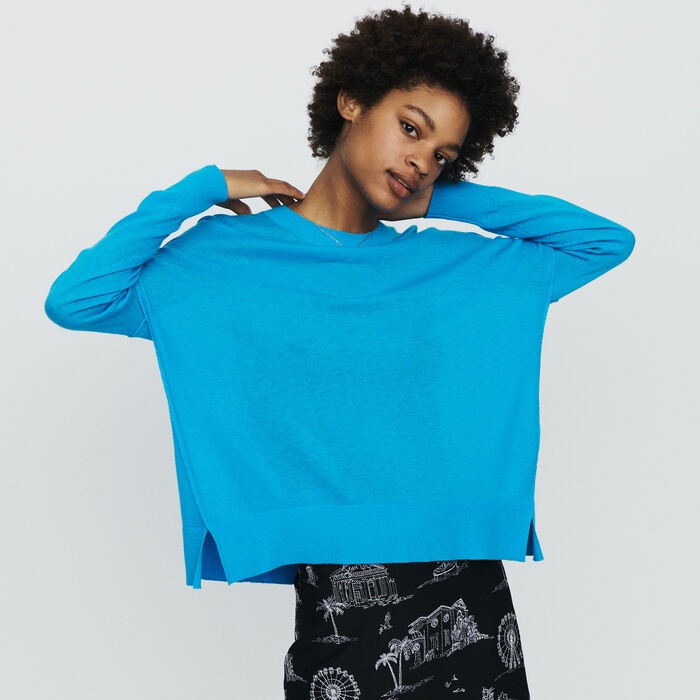 Oversize sweater in cashmere : Pullovers & Cardigans color Blue