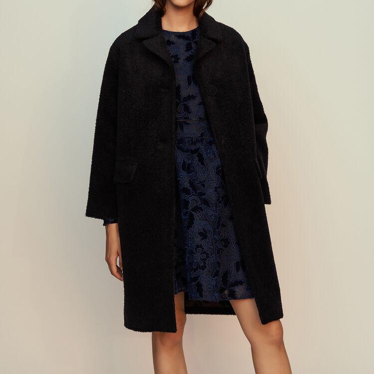 Long alpaca coat : Coats color Navy