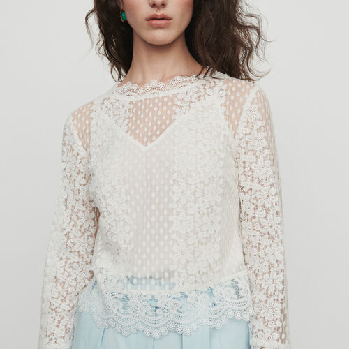Guipure lace top : Tops color WHITE